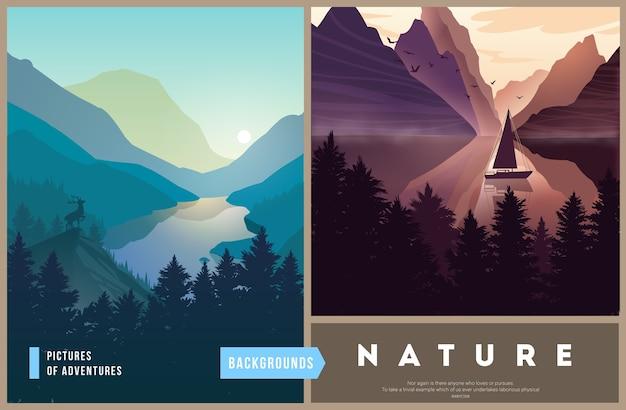 Набор иллюстраций ландшафта природы с силуэтами гор и деревьев.
