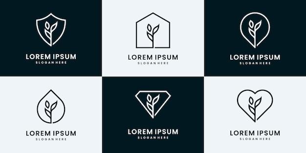 자연 로고 컬렉션의 집합입니다. 나무, 잎, 식물 로고 디자인 템플릿.