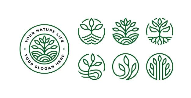 バッジと自然のロゴのテンプレートのセット
