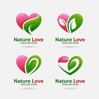 Набор дизайна логотипа природы любви