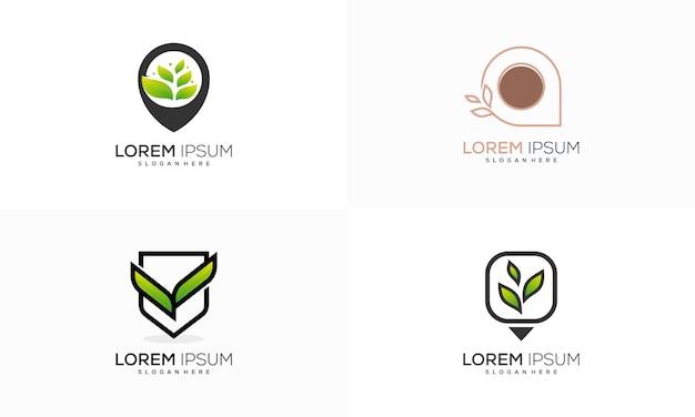 ネイチャーポイントプレイスロゴデザインコンセプトベクトル、ファーム農業ロゴデザインベクトルイラストのセット