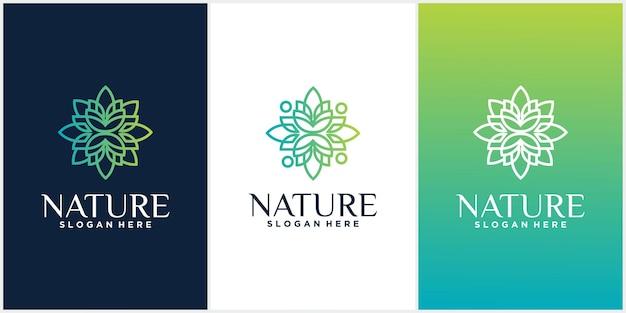 自然のセット花とトレンディな線形スタイルのロゴ飾りデザインテンプレートのセット