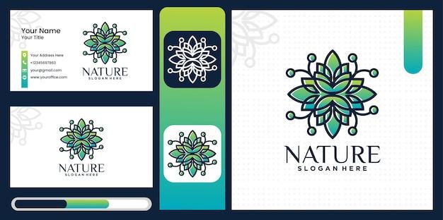 자연의 집합 꽃과 트렌디 한 선형 스타일의 로고 장식 템플릿 집합