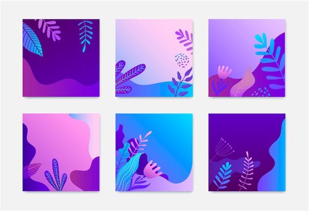 자연 광장 카드 세트입니다. 그라데이션 잎, 꽃, 파도.