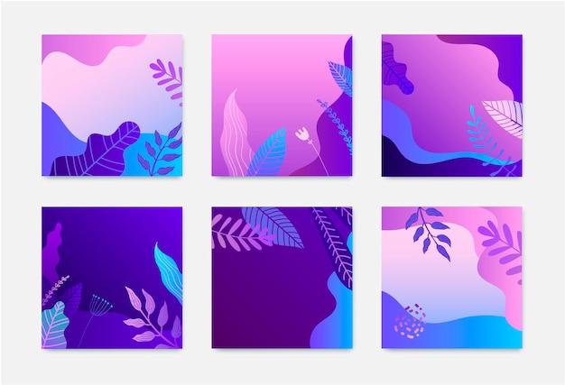 자연 광장 카드 세트입니다. 그라데이션 잎, 꽃, 파도. 프리미엄 벡터