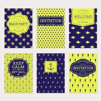 Набор морских и морских баннеров и этикеток. шаблоны карточек для пляжной и морской тематики.