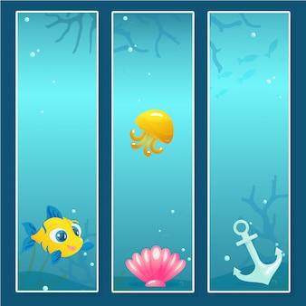 水中の要素を持つ航海バナーテンプレートのセット