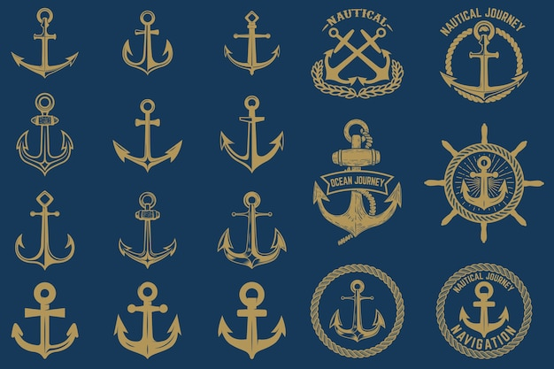Набор морских эмблем и элементов в винтажном стиле. ярлыки якорей на синем фоне.