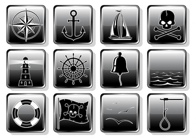 フラットなデザインの航海アイコンのセット