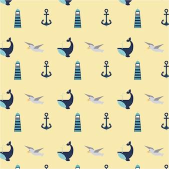 海洋シンボルのセットシームレスなパターンのアイコン