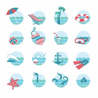 Набор морских или морских и пляжных тем отдыха. круглые значки с волнами