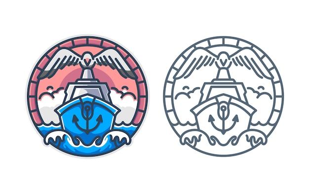 Набор из морской лодки с шаблоном логотипа чайка