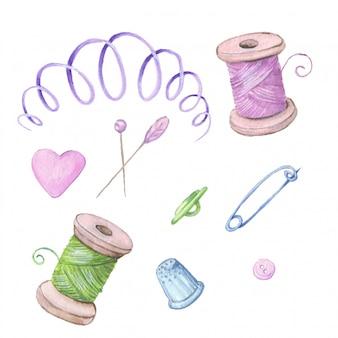 針床ミシンアクセサリーのセット。手描き。ベクトル図