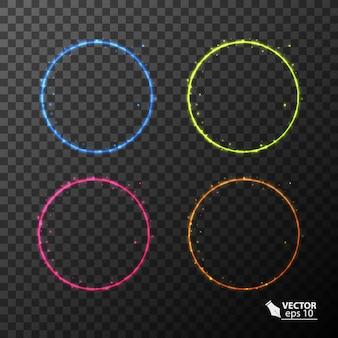 네온 서클 다른 색상 조명 효과 세트