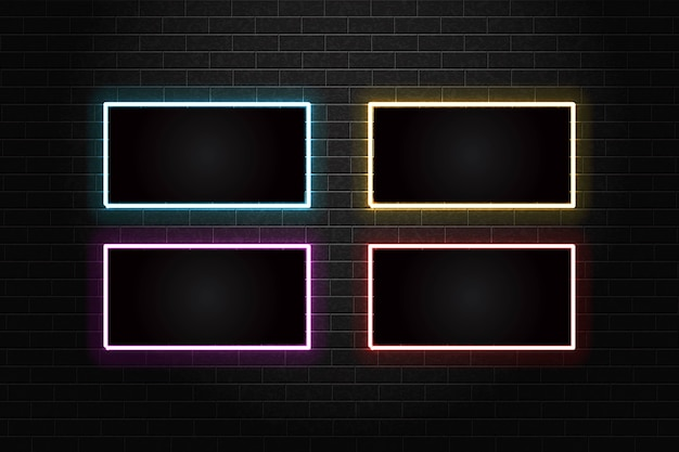 Набор неоновых рамок шаблона на стене