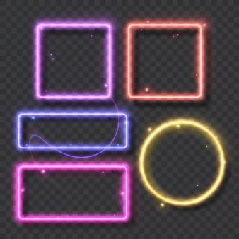 Набор неоновых рамок и светящихся линий для украшения вывески