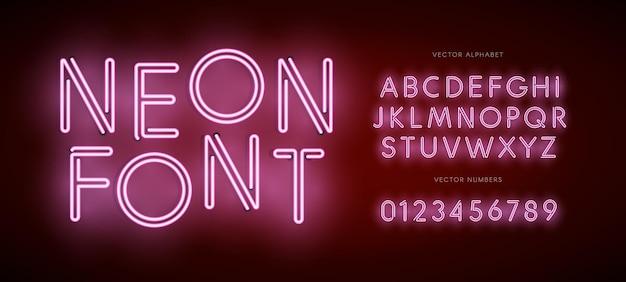 현대적인 네온 로고 야간 조명 엠블럼 바와 카지노 로고를 위한 네온 문자 및 숫자 유형 세트