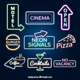 Set of neon signs