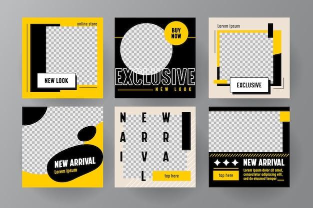 オンラインストアのソーシャルメディアで使用するための幾何学的なスタイルの新着バナーまたはテンプレートのセット。 web広告のための抽象的なビジネスデザイン。新しいコレクション、セール、ショッピングウィーク。ベクトルイラスト