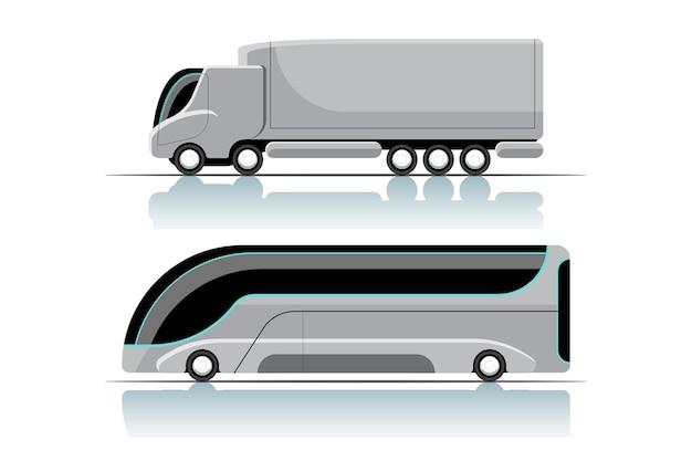 新しい革新的なハイテクトラックとバスの漫画スタイルのセット、反射または影で白い背景に平らなイラストを描く