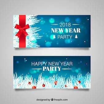 赤いリボンと新年の旗のセット