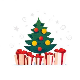 Набор новогодней елки, настоящего и подарочных коробок на белом фоне. новый год, счастливого рождества, рождественские украшения. подходит для поздравительной открытки, живодер. мультяшный стиль.