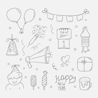 手描きの新年パーティー落書きのセット