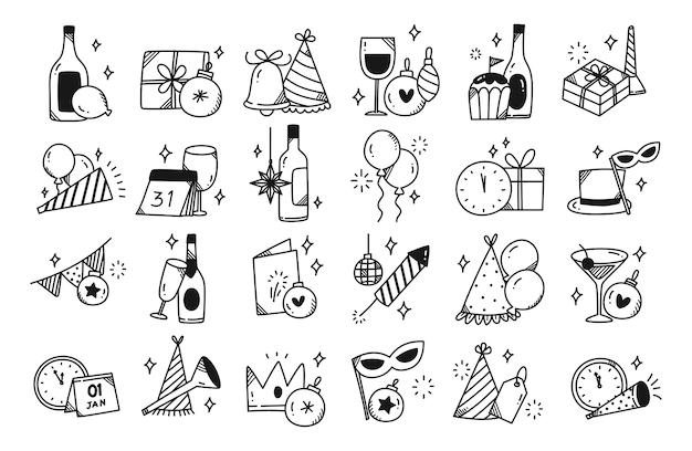 Набор новогодних вечеринок каракули, изолированные на белом