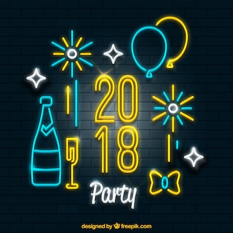 Set of new year party elements