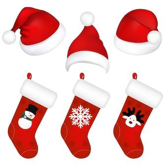 分離された新年のキャップと靴下のセット