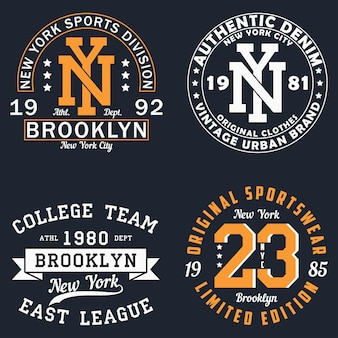 Tshirt 원래 옷 디자인에 대 한 뉴욕 그래픽 세트 의류에 대 한 빈티지 인쇄 술 인쇄