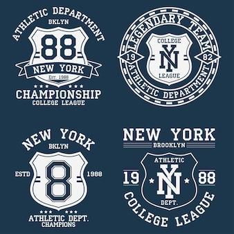 Tシャツのニューヨークnyヴィンテージグラフィックのセットシールド付きオリジナル服デザインのコレクション