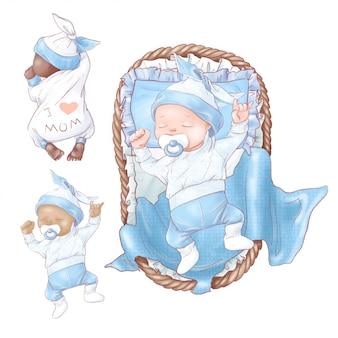 Набор новорожденного душа ребенка на день рождения. рука рисунок