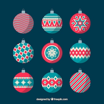 Set of nice christmas balls in flat design