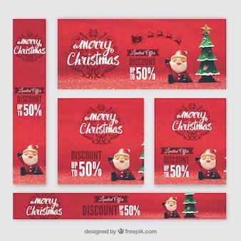 Набор красивых рождественских баннеров с санта-клаусом