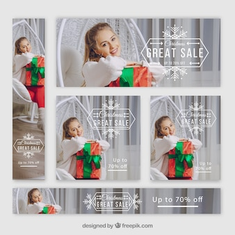 Набор красивых рождественских баннеров