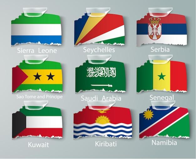 나이지리아 플래그 컬렉션 흰색 절연의 집합