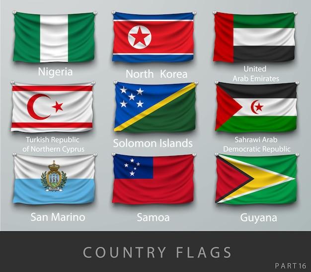 나이지리아 플래그 컬렉션 흰색 절연의 집합입니다.