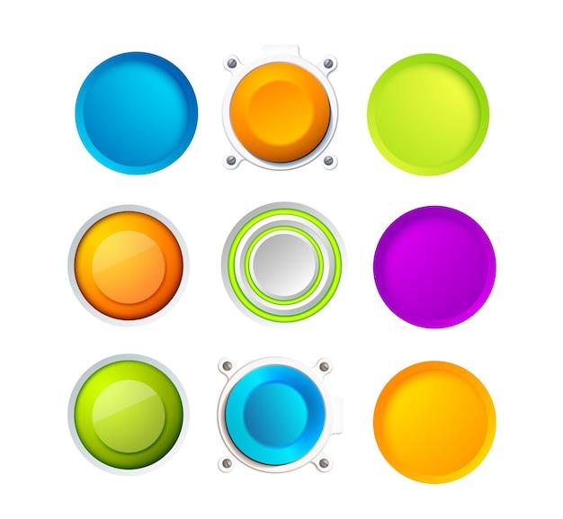 ウェブサイト、インターネット、またはアプリケーション用の9つの空白のカラフルな丸いボタンのセット。2つのボタンの周りに8つの小さなポイントがあります。