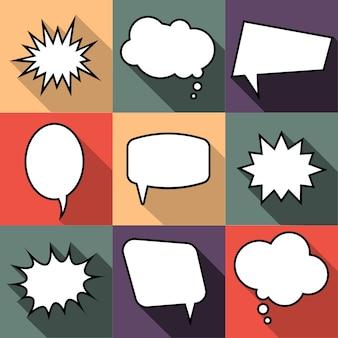 フラットスタイルの9つの漫画コミックバルーン吹き出しのセット。フレーズのないデザインコミックの要素。ベクトルイラスト