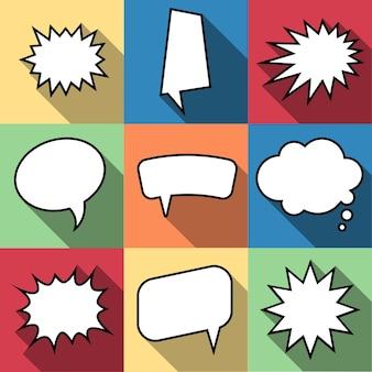 フラットスタイルの9つの漫画コミックバルーン吹き出しのセットです。フレーズのないデザインコミックの要素。ベクトルイラスト