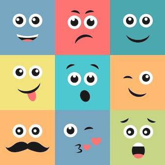 9개의 다채로운 이모티콘 세트입니다. 사각형에 이모티콘 아이콘입니다. 평면 배경 패턴입니다. 벡터 일러스트 레이 션 프리미엄 벡터