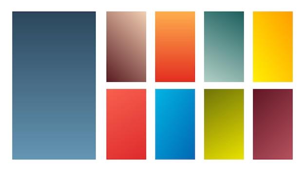 9개의 다채로운 그라데이션 배경 세트입니다. 스마트폰 화면 및 모바일 앱용 그라디언트 모음입니다. 벡터 일러스트 레이 션.