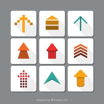 矢印の9つの異なるタイプのセット