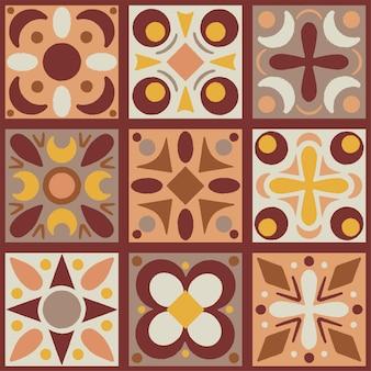 Набор из девяти элементов геометрии полумесный узор в осенних тонах
