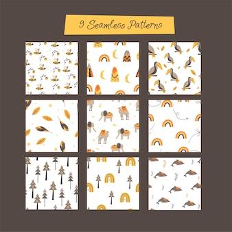 スカンジナビアスタイルの9つのシームレスなパターンのセット。手描き
