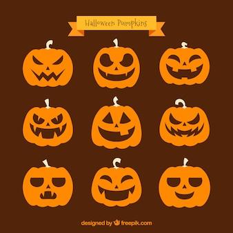 Set of nine various pumpkins