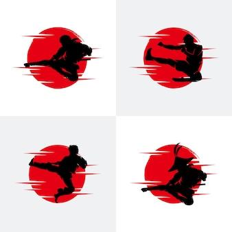 Набор иллюстрации силуэт ниндзя