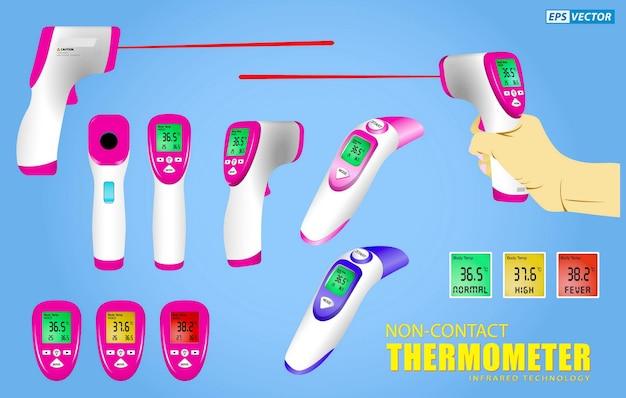 비접촉 온도계 또는 적외선 온도계 총 또는 전자 온도계 세트 프리미엄 벡터