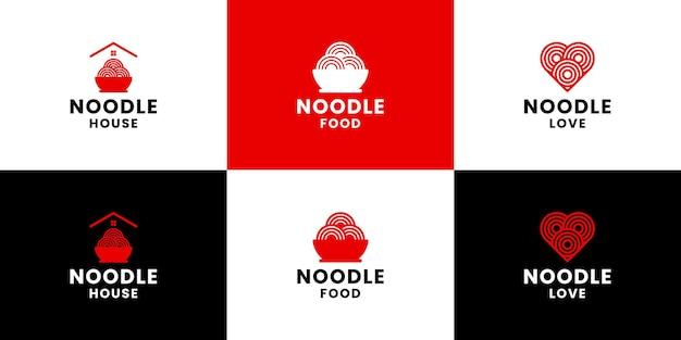 メニューレストランとヌードル会社のヌードルロゴデザインのセット
